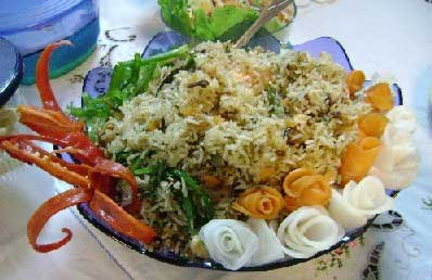 A plate of biryani