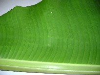 Inside of banana leaf
