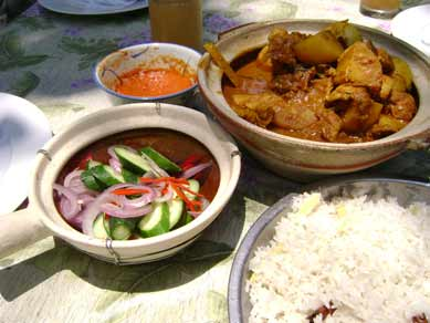 A typical lunch with spicy curry.