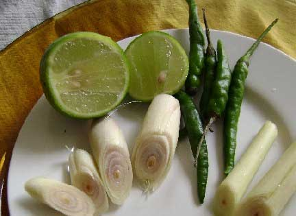 Lemongrass, lime and bird's eye chilies