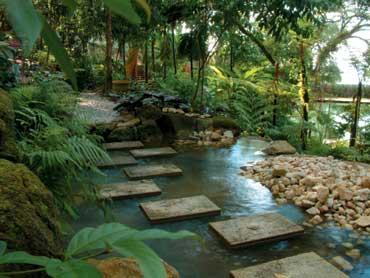 Stepstones over a brook at Tropical Spice Garden