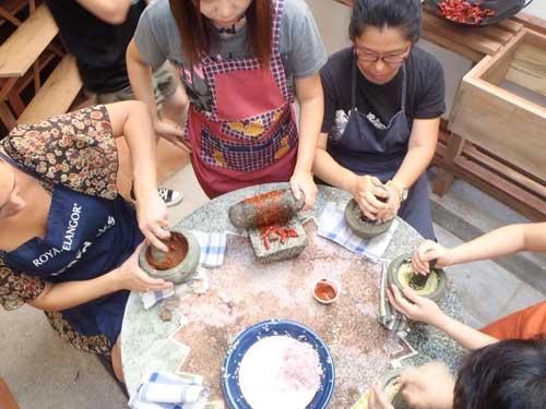 My students enjoying preparing the dishes